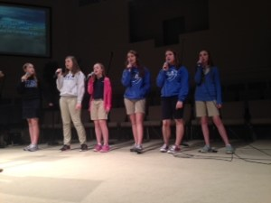 Maddy Pickens, Katey Reid, Emma Pierce, Lauryn Harrison, Karley Blackwelder, and Kimme Callahan leading the students in worship.