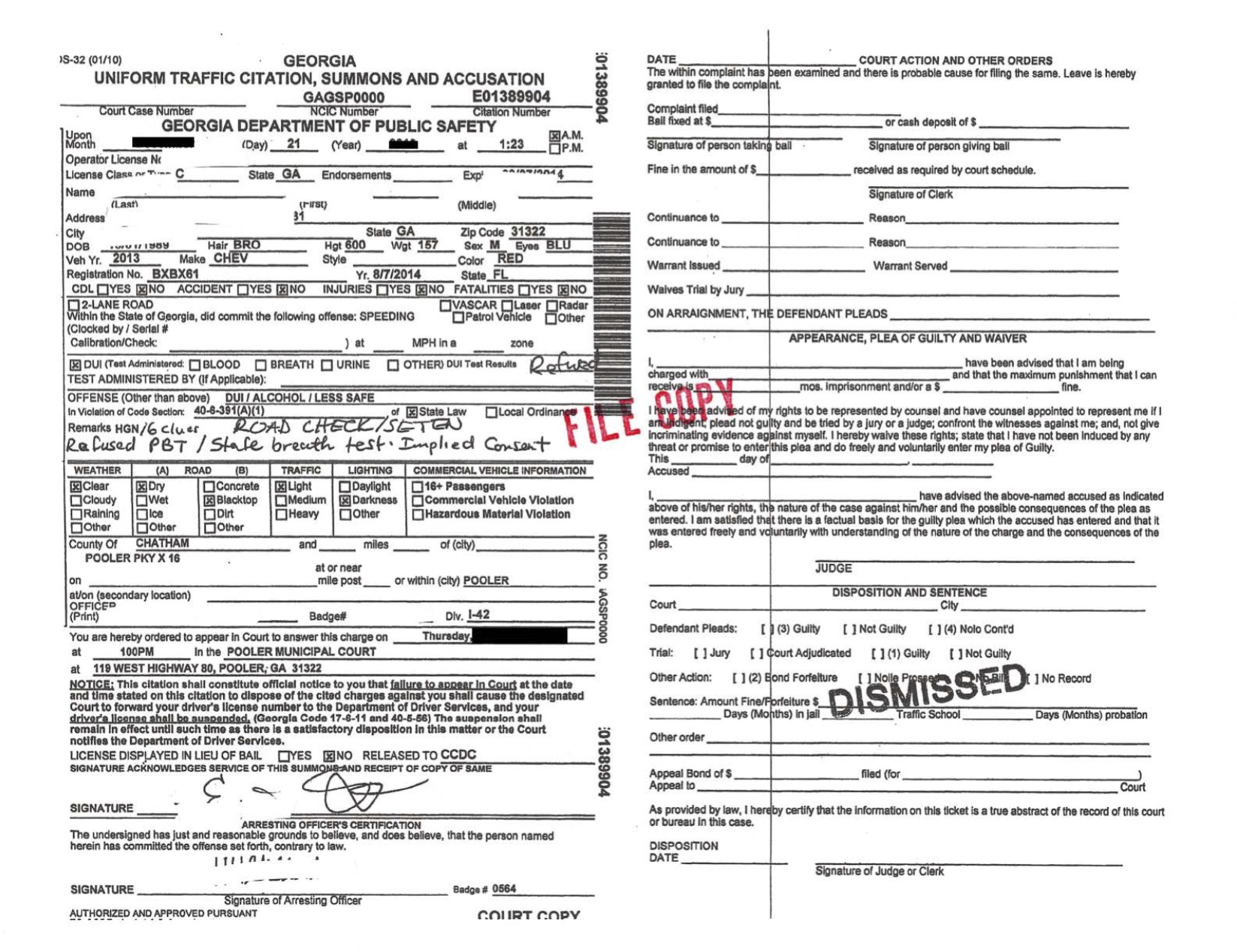 Pooler DUI less safe dismissed by Jason Cerbone DUI Lawyer Savannah, Georgia