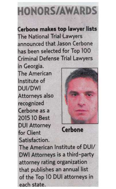 Cerbone makes top DUI lawyer lists in Savannah Morning News
