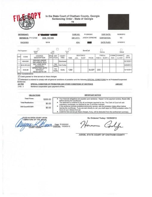 Soldier Not Guilty of DUI - Jason Cerbone, Savannah GA DUI lawyer