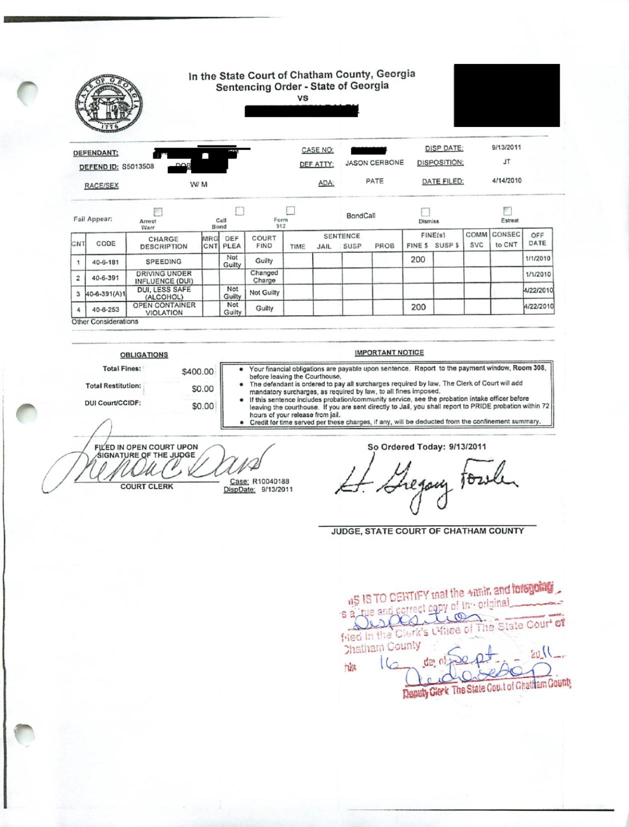 DUI jury trial win