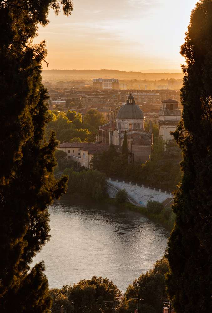 Verona, Italy Sunset with Cypress Trees