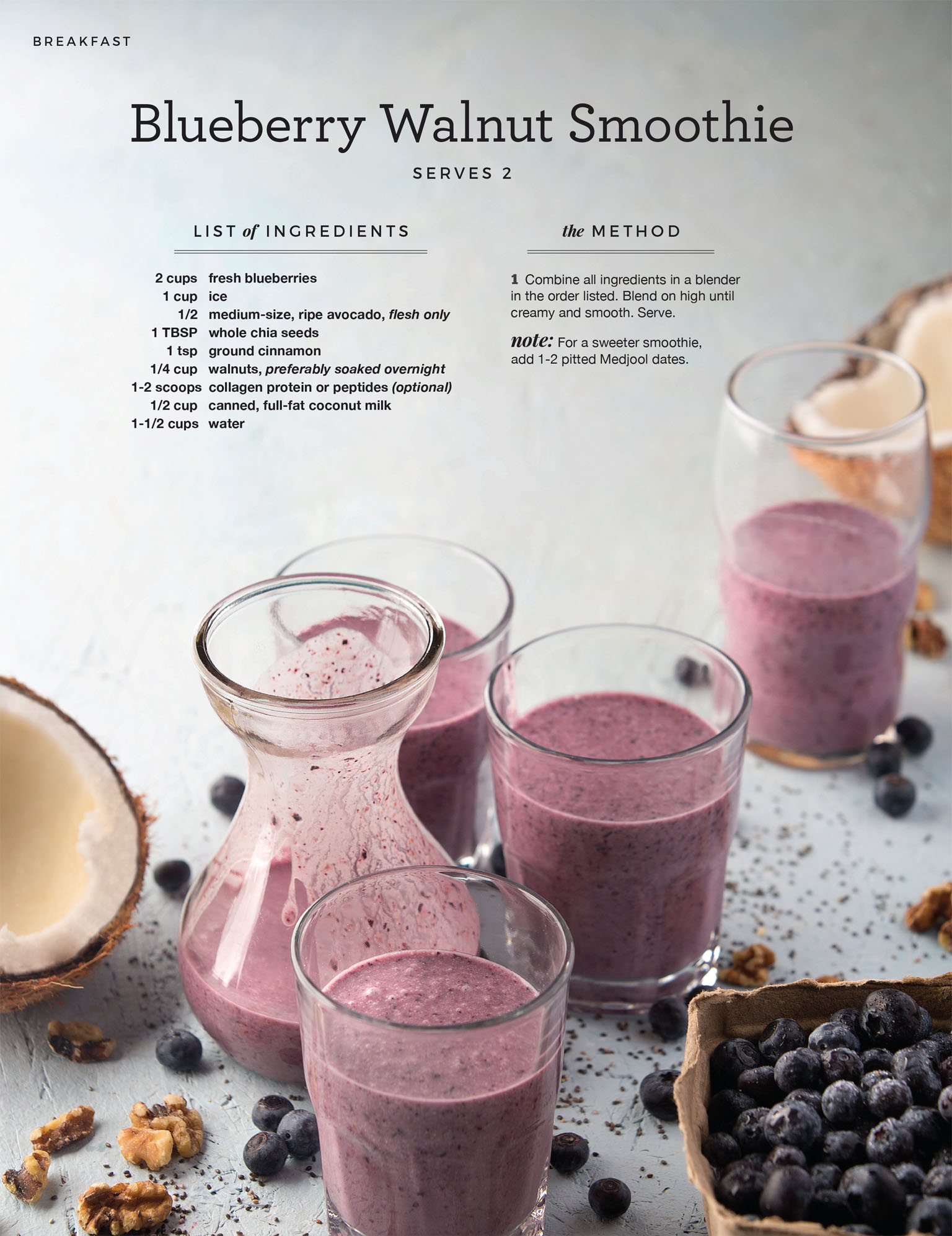 Beverage Photography - Paleo Blueberry Smoothie Recipe