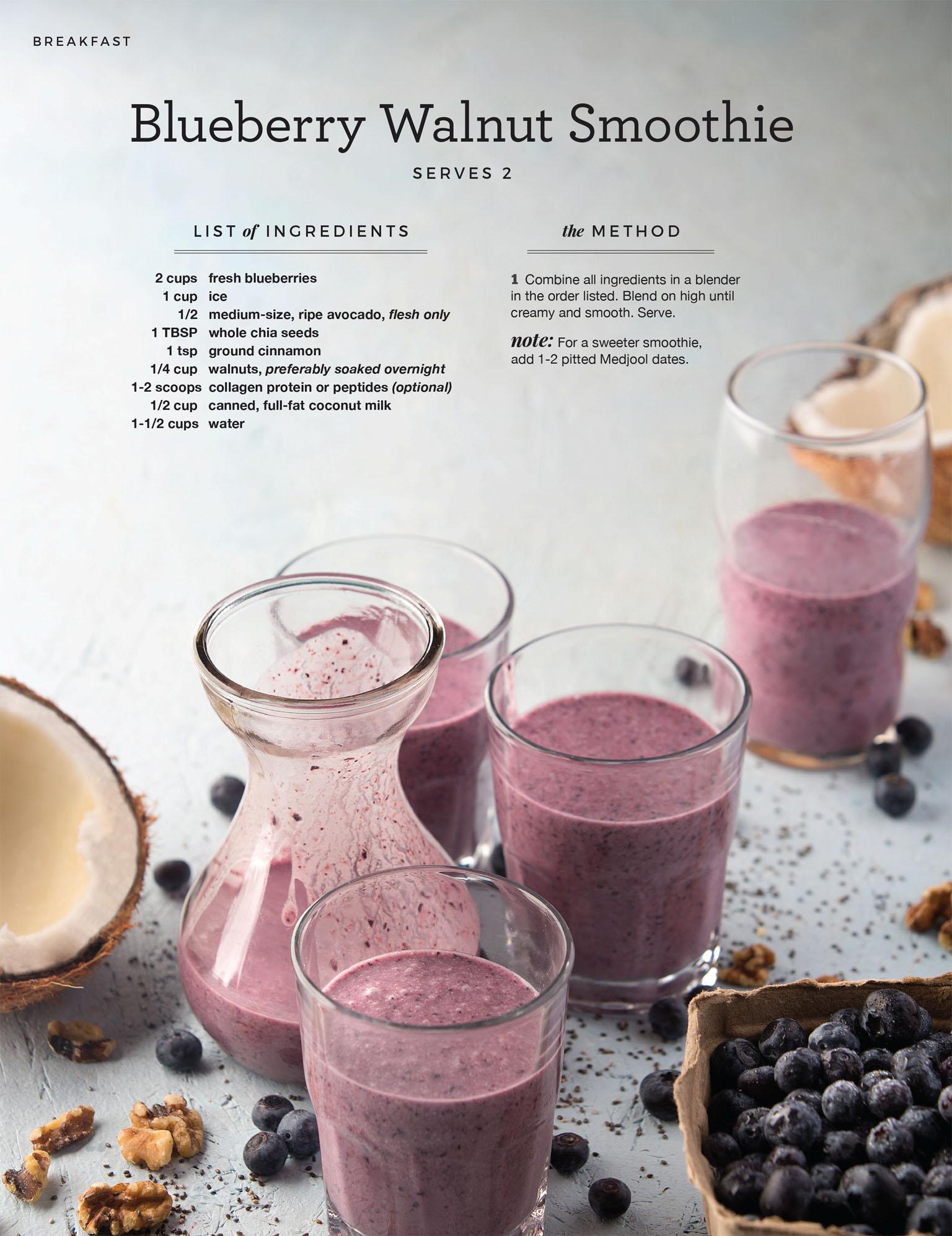 Beverage Photography - Paleo Blueberry Smoothie Recipe