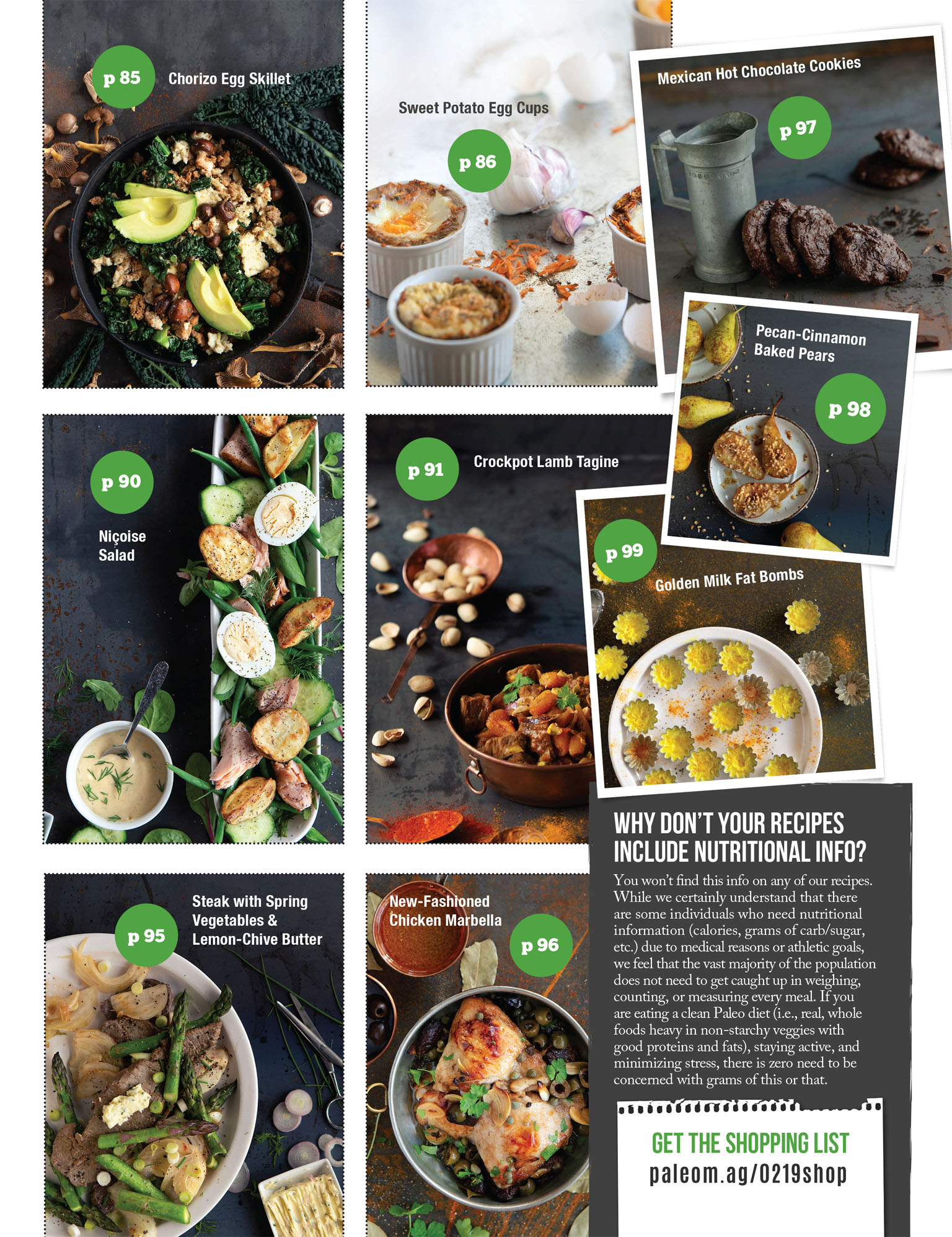 Paleo Magazine grid of Recipes in February & March