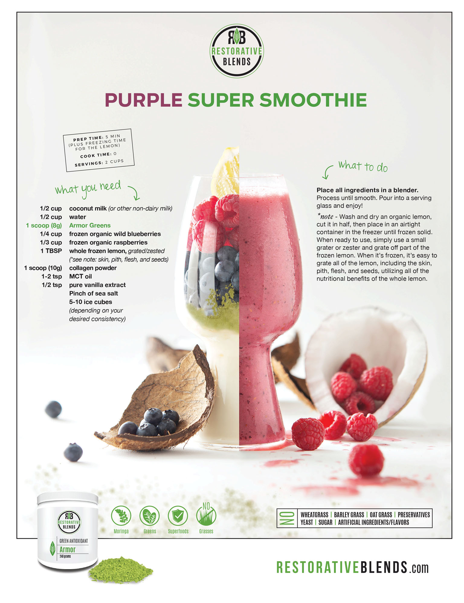 Restorative Blends Advertisement | Paleo Smoothie Product Photography