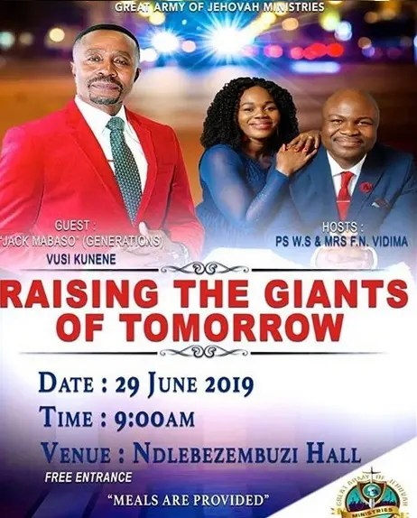 Jack Mabaso is a preacher or pastor