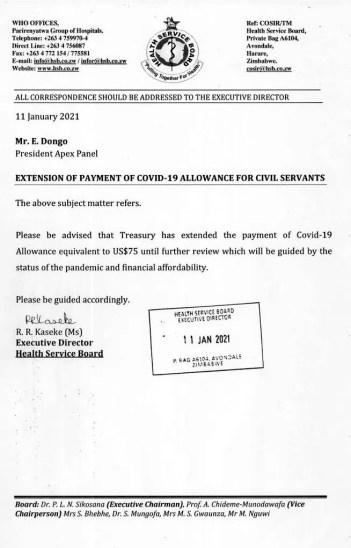 Civil servant's Covid-19 allowances extended
