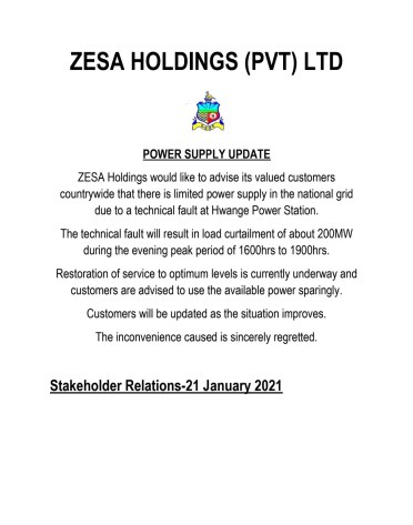 """ZESA advises that there is a technical fault at Hwange Power Station which will result in """"load curtailment during the evening peak period of 1600 to 1900hrs."""""""
