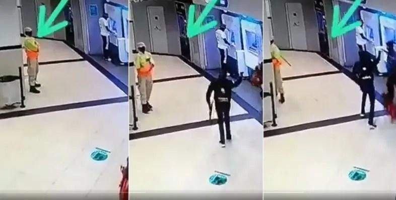 Video: Security Guard hiding from heavily armed robbers at ATM