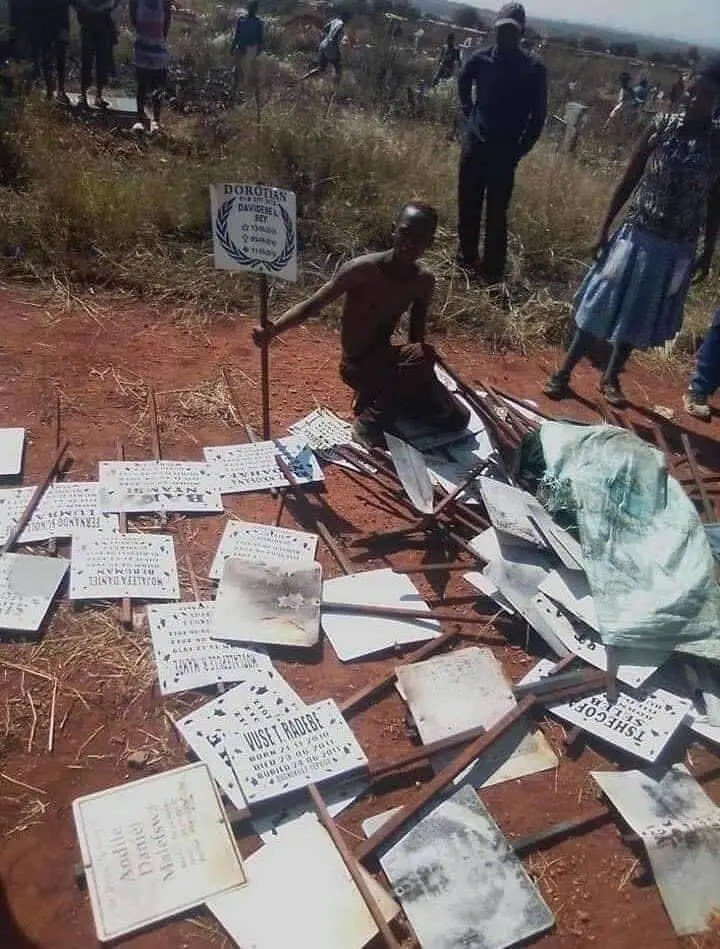 Chaos at graveyard after local man stole metal grave markings
