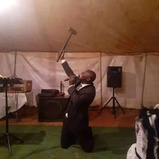 Congregants shower pastor with gifts after he claims he smashed the devil's head with his Holy hammer