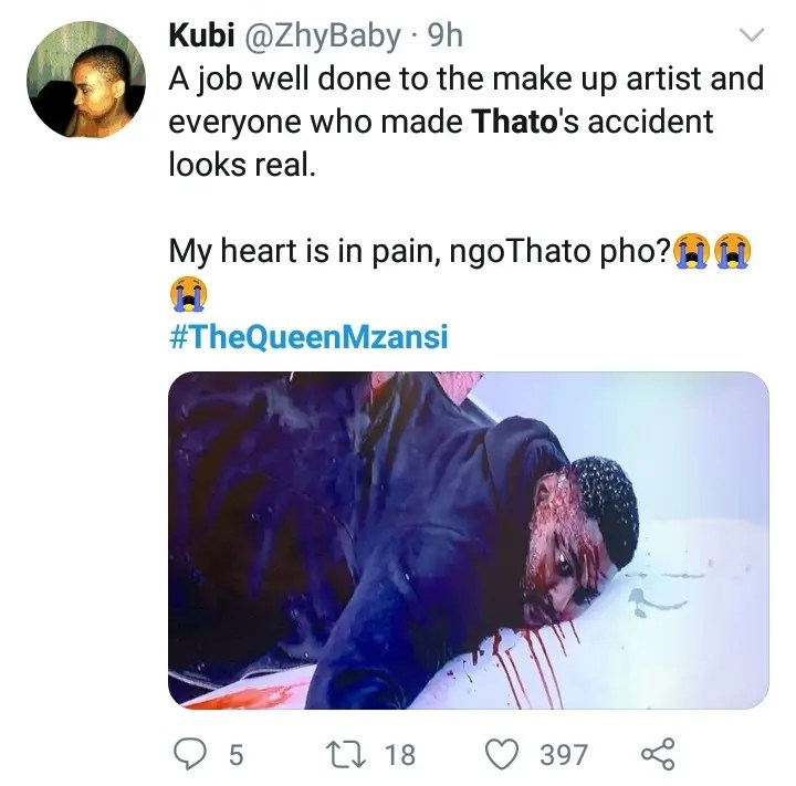Mzansi hails Thato's acting performance on The Queen despite his unfortunate demise