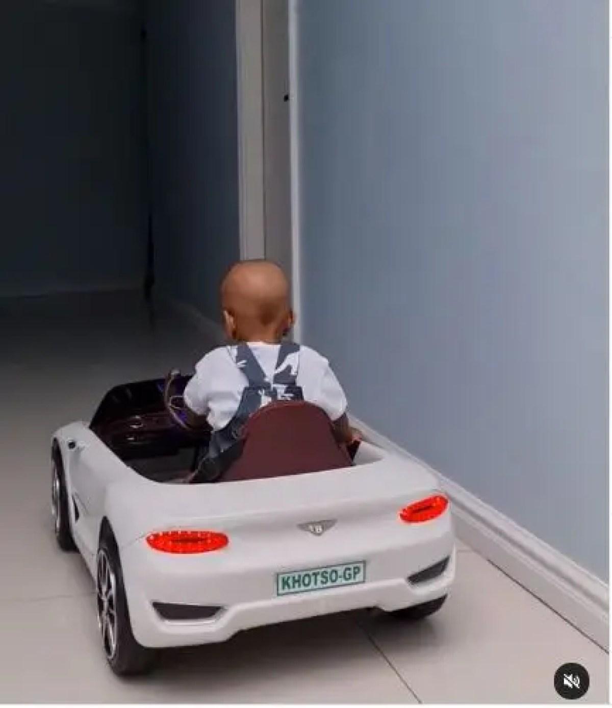 Cassper Nyovest son Khotso driving a Bentley