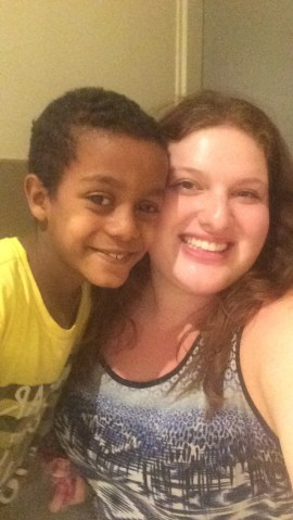 Getting some cuddles with Munir from Ethiopia