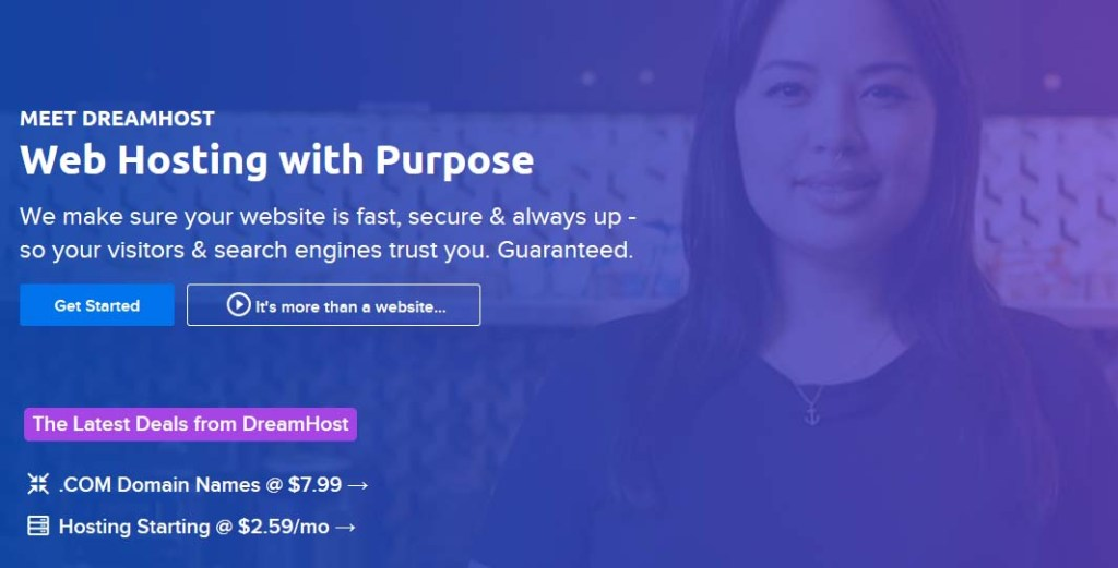 Dreamhost web hosting with purpose