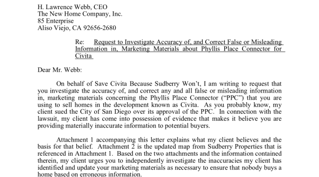 Letter Sent to Civita Builder Regarding Misleading Information