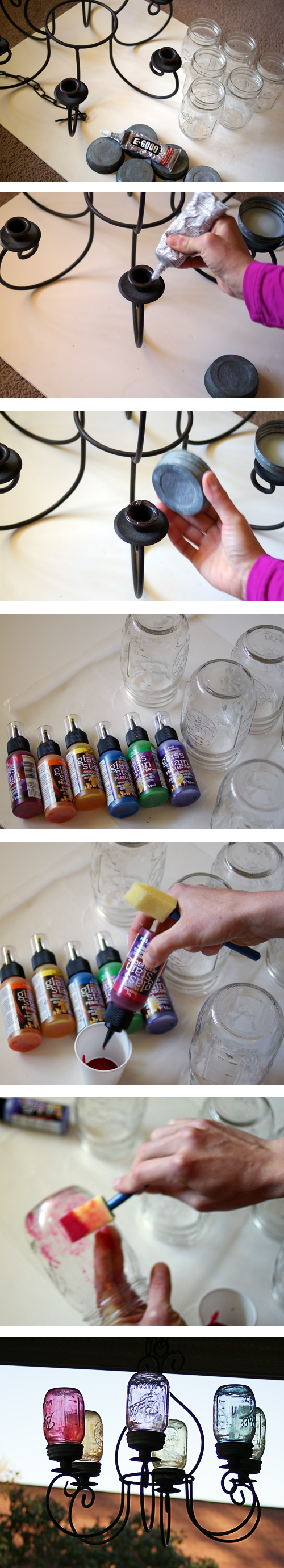 How to make a #MasonJar Chandelier #DIY #craft @savedbyloves