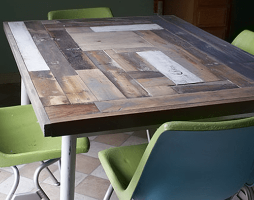 diy kitchen tables table with built in bench how to resurface a reclaimed wood resurfaced furnituremakeover woodworking savedbyloves