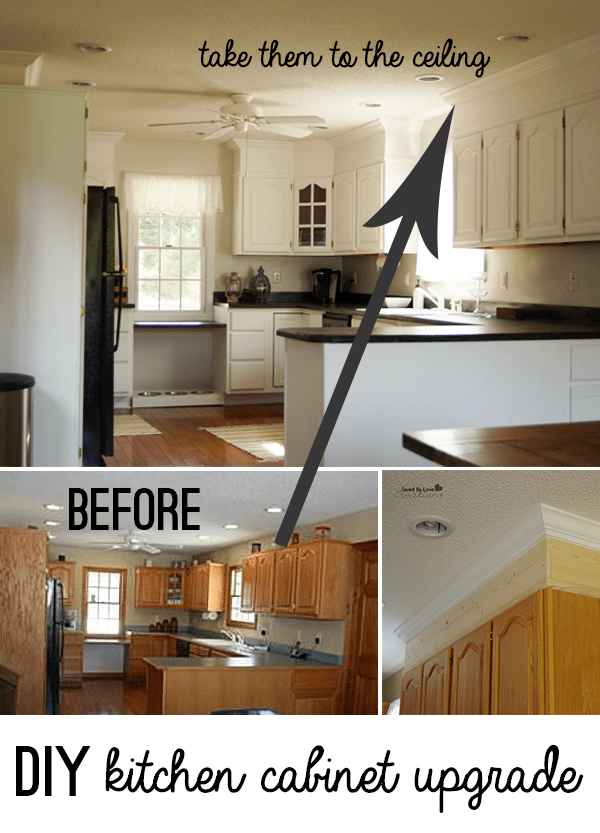 DIY Kitchen Cabinet Upgrade With Paint And Crown Molding
