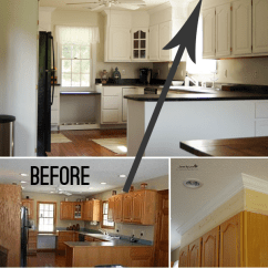 Diy Kitchen Cabinet Appliences Upgrade With Paint And Crown Molding