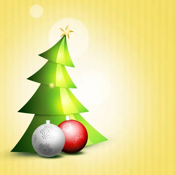 How to Create Colorful Christmas Background with Christmas Tree and Glossy Balls