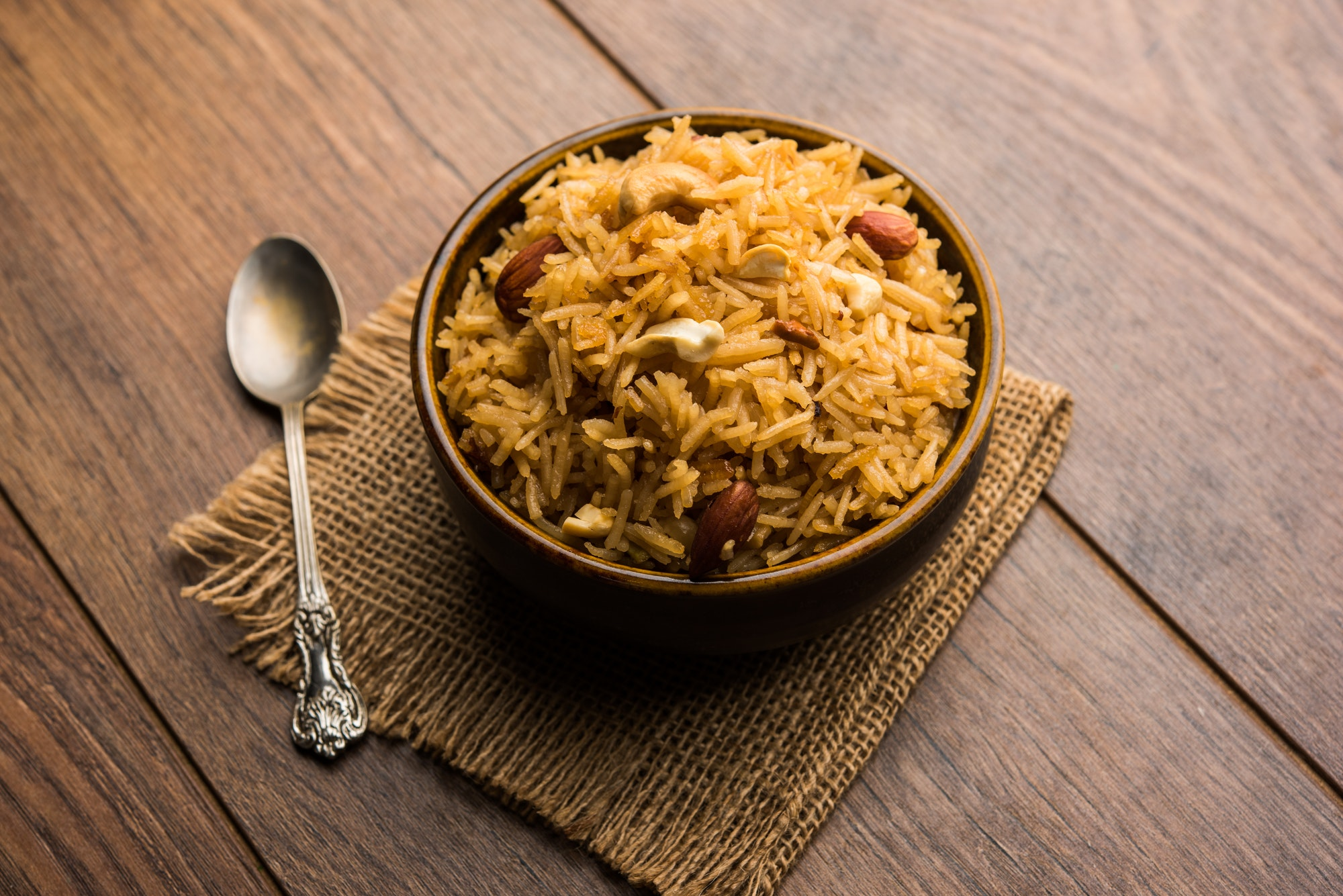 Traditional Jaggery Rice or Gur wale chawal is an Indian dessert recipe