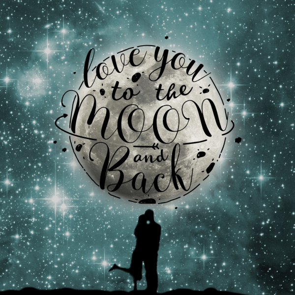 Love You To The Moon And Back, Couple Moon And Stars In Sky