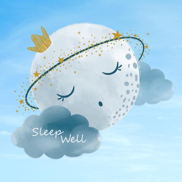 Sleep Well Good Night, Moon And Clouds