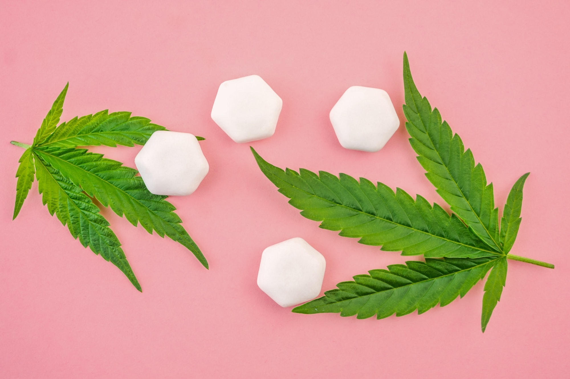 CBD chewing gum Drops with cannabis leafs