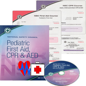 Pediatric First Aid and CPR workbook, DVD and certificates