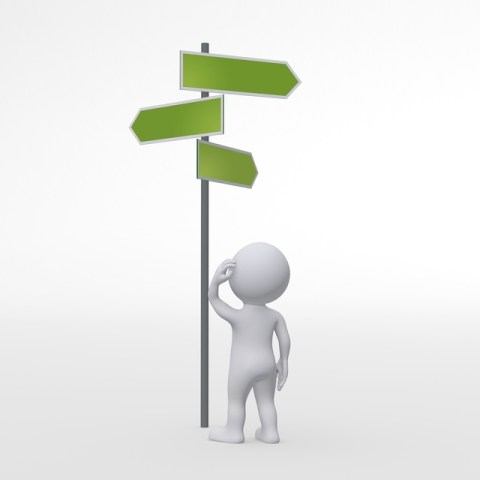 graphical image of a person at the intersection trying to find the right way