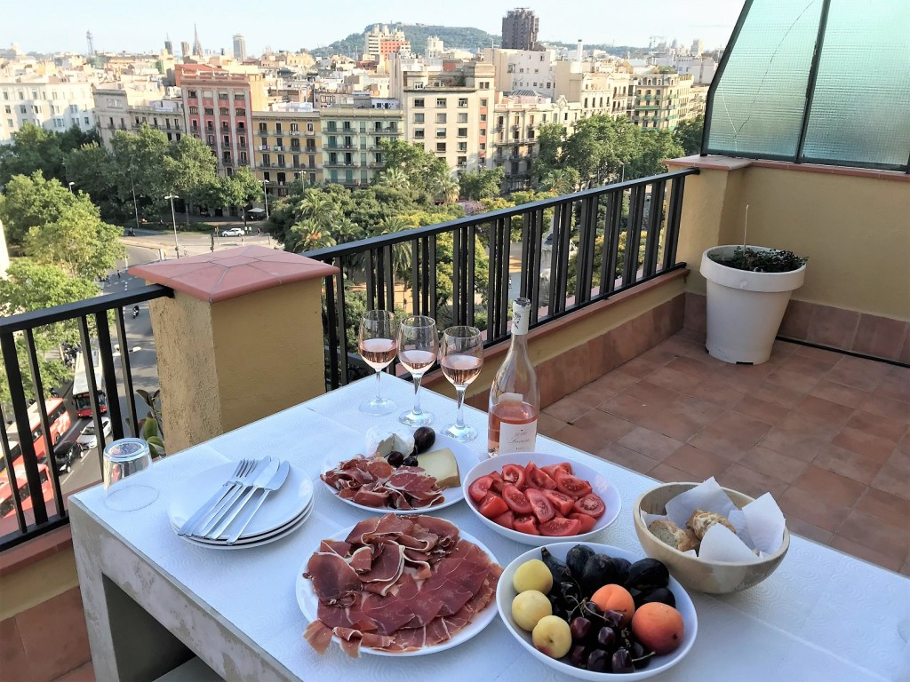 Dinner on the roof terrace in Barcelona, Spain