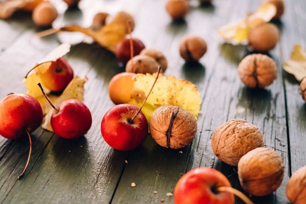 walnuts, wild apples and golden leaves are spread on the table