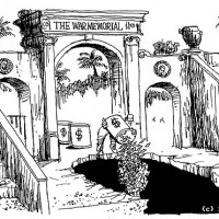 Dick Adair's cartoon in the Honolulu Advertiser, August 11, 2004.