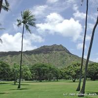A view of Diamond Head from nearby Kapiolani Park.