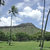 A view of Diamond Head from nearby Kapiolani Park.
