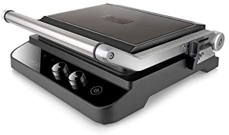 BLACK+DECKER BXGR2000E Grill Elettrico, 2000 W, Acciaio Inossidabile, Nero