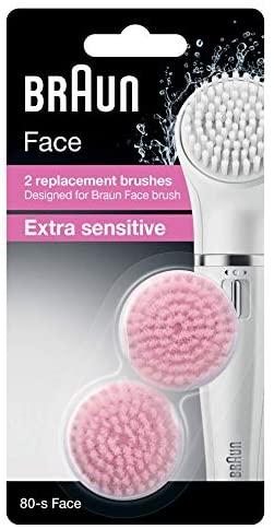 Braun 80-s Face Spazzola Extra Sensibile per Pelli Sensibili, Set da 2...