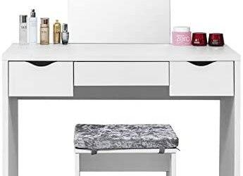 Laneetal Tavolo da Trucco con Specchio 3 Cassetti per Organizzare Cosmetici…