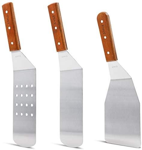 Raschietto in acciaio INOX grill spatola da cucina e da cucina con manici...