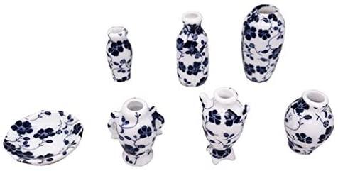 Set da 7 pezzi, mini vaso in ceramica, mobili in miniatura per casa delle...