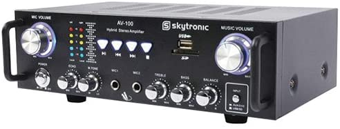 Skytronic 103.208 AV-100 Amplificatore Stereo, Nero