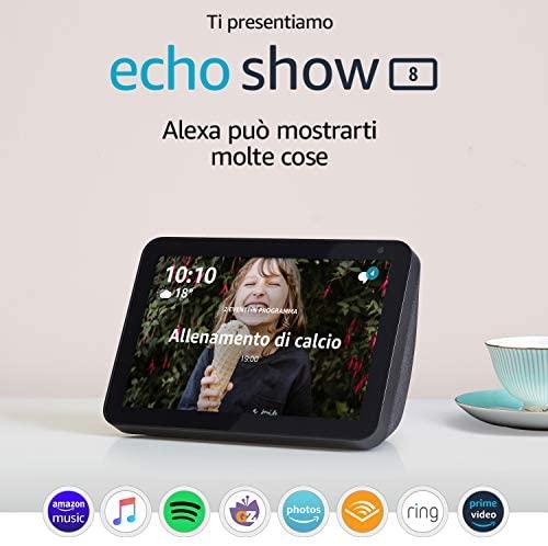 """Ti presentiamo Echo Show 8 – Schermo intelligente HD da 8"""" con Alexa -..."""