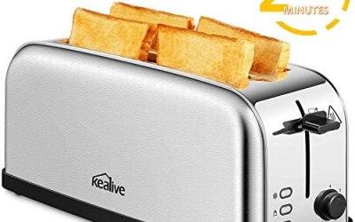 Tostapane, Kealive Toaster Vintage 4 Fette 2 Slot Lunghe, 1500W,…