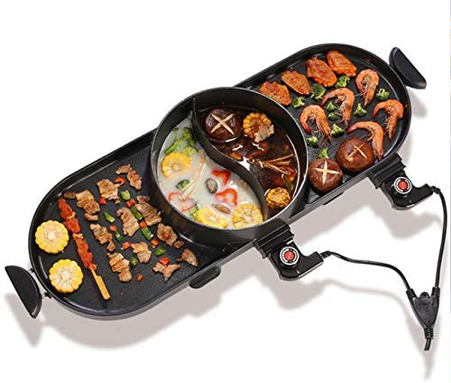 WJJJ BBQ Electric Grill Pan with Hot Pot 2 in 1, Indoor/Outdoor 1400 Watts...