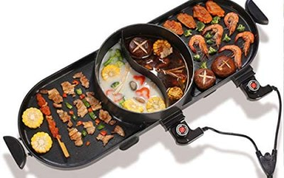 WJJJ BBQ Electric Grill Pan with Hot Pot 2 in 1, Indoor/Outdoor 1400 Watts…