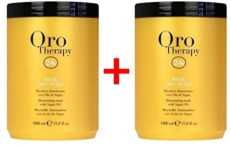 X2 Maschera Oro Puro 1000 ml Con Cheratina ed Argan - Fanola Oro Therapy...