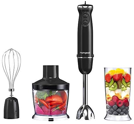 homgeek Frullatore ad Immersione, Mixer a Immersione Professionale 4 in 1,...