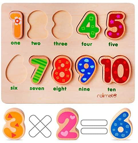 rolimate Puzzle di Legno Jigsaw Puzzle 10 Numeri Puzzle, Puzzle di...